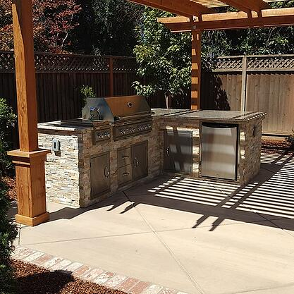 Tiny Backyard Outdoor Kitchen and Pergola in San Jose CA