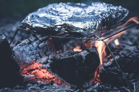 Roasting treats over a backyard fire
