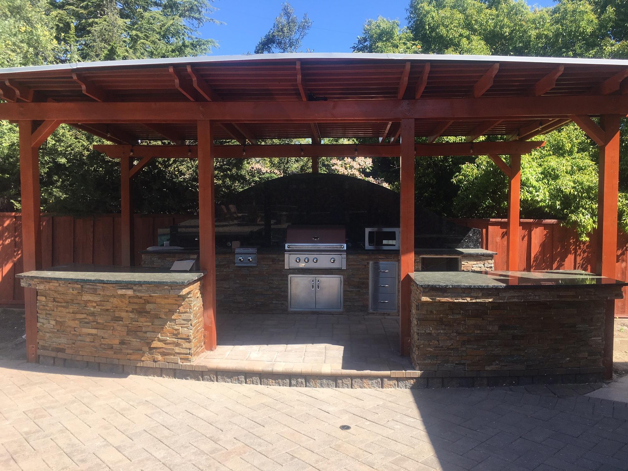 Custom Style Pergola and Outdoor Kitchen - Saratoga, CA