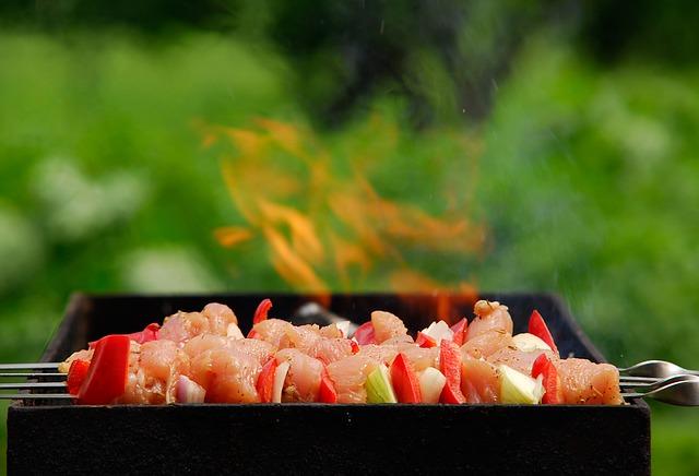 Grilling turkey kebabs.jpg
