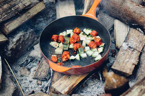 Cooking in an outdoor kitchen