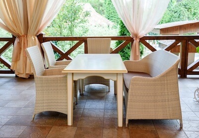 Outdoor Kitchen Patio with Curtains
